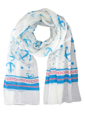 Nautical Print Lightweight Summer Scarf For Women