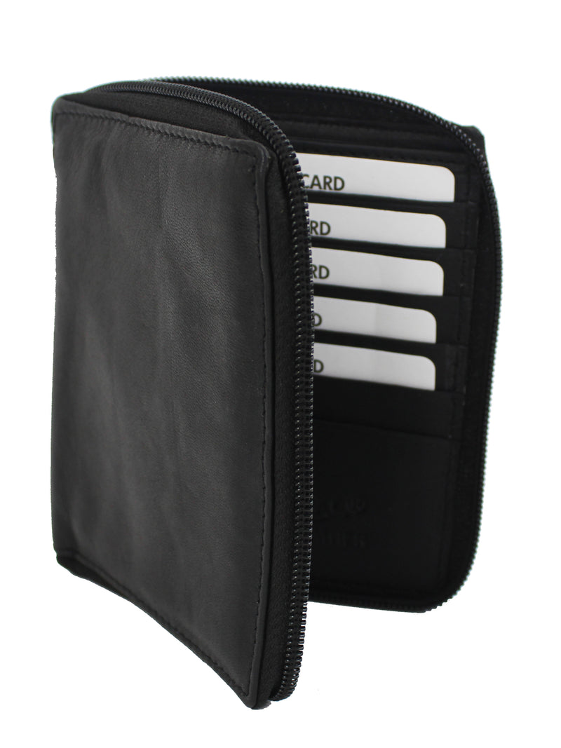 Mens Rfid Blocking Bifold Leather 10 Card Slot Zippered Wallet