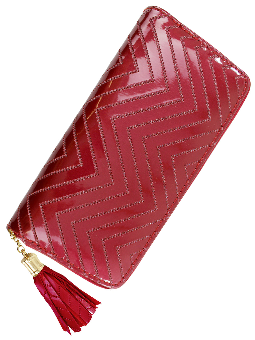 Burgundy Metallic Chevron Womens Tassel Wallet