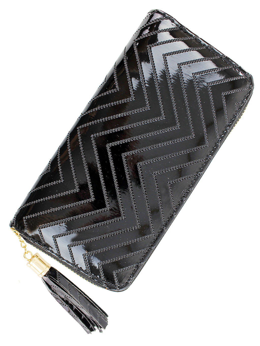 Black Metallic Chevron Tassel Wallet
