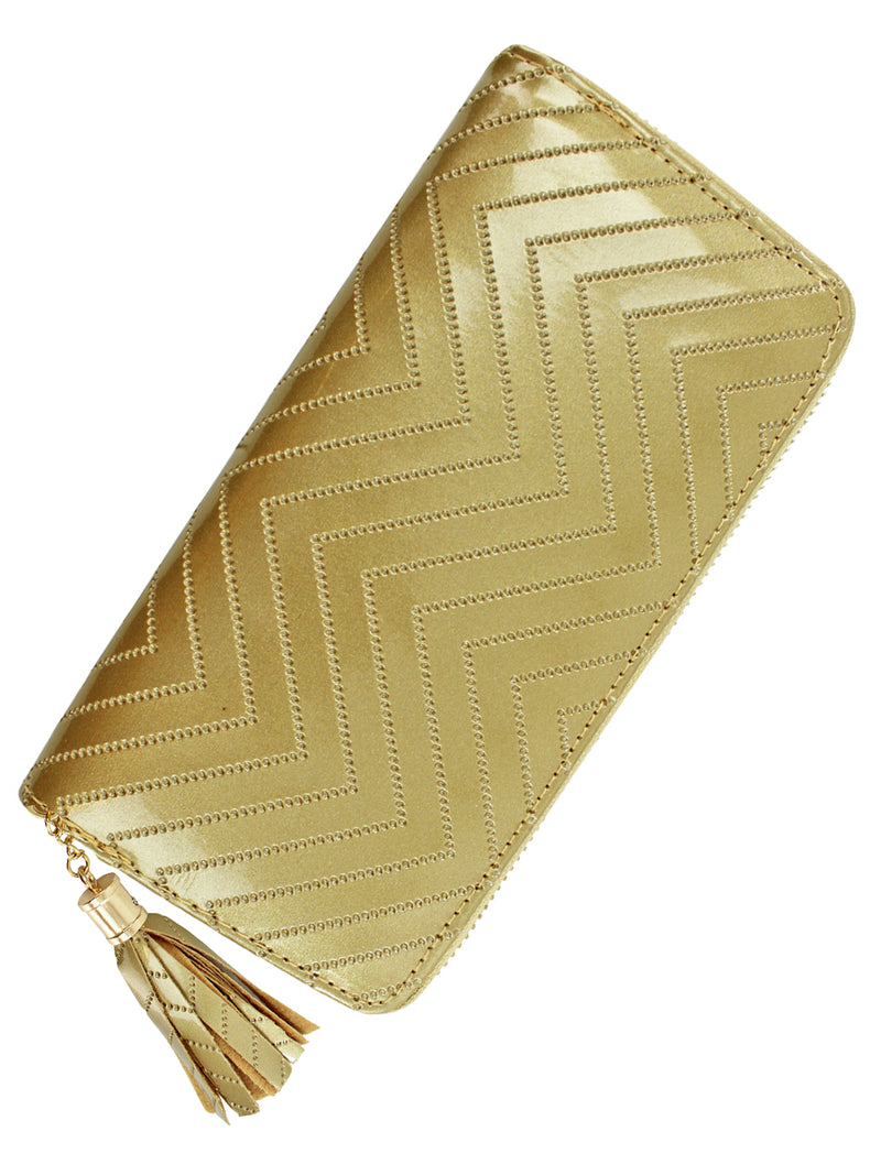 Gold Metallic Chevron Tassel Wallet