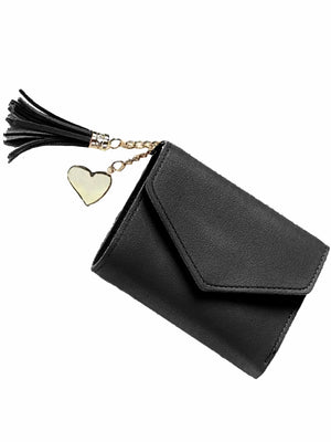 Tri-Fold Vegan Leather Square Wallet With Tassel