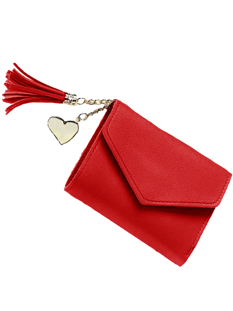Red Tri-Fold Vegan Leather Wallet With Tassel