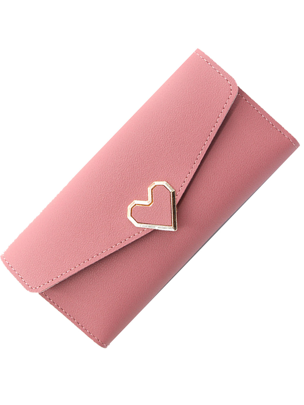 Long Organizer Wallet With Heart Closure