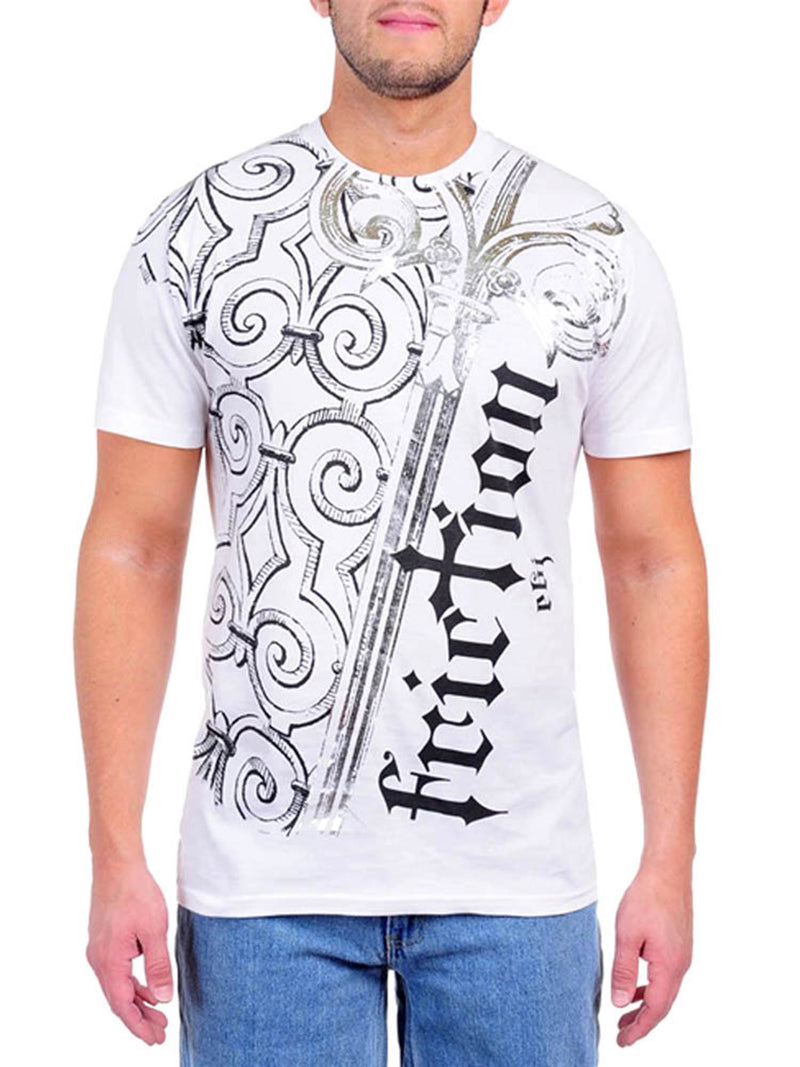 Men's White Short Sleeve Foiled Graphic Tee Shirt