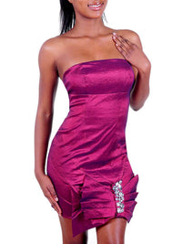 Short Satin Strapless Dress With Dramatic Bow