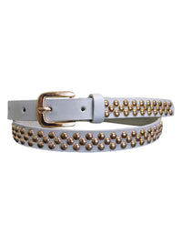 Skinny Gold Tone Round Studded Belt