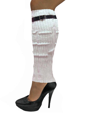 Knit Leg Warmers With Adjustable Belt Trim