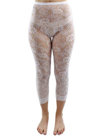 White Floral Lace Capri Length Stretchy Tights
