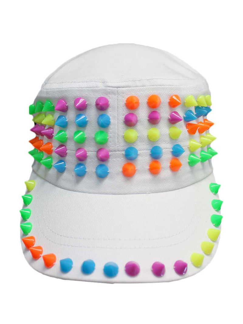 Cadet Style Cotton Cap Hat With Rainbow Spikes