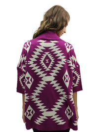 Aztec Print Open Front Cardigan Sweater