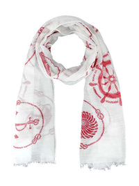 Nautical Icons Print Summer Oblong Scarf