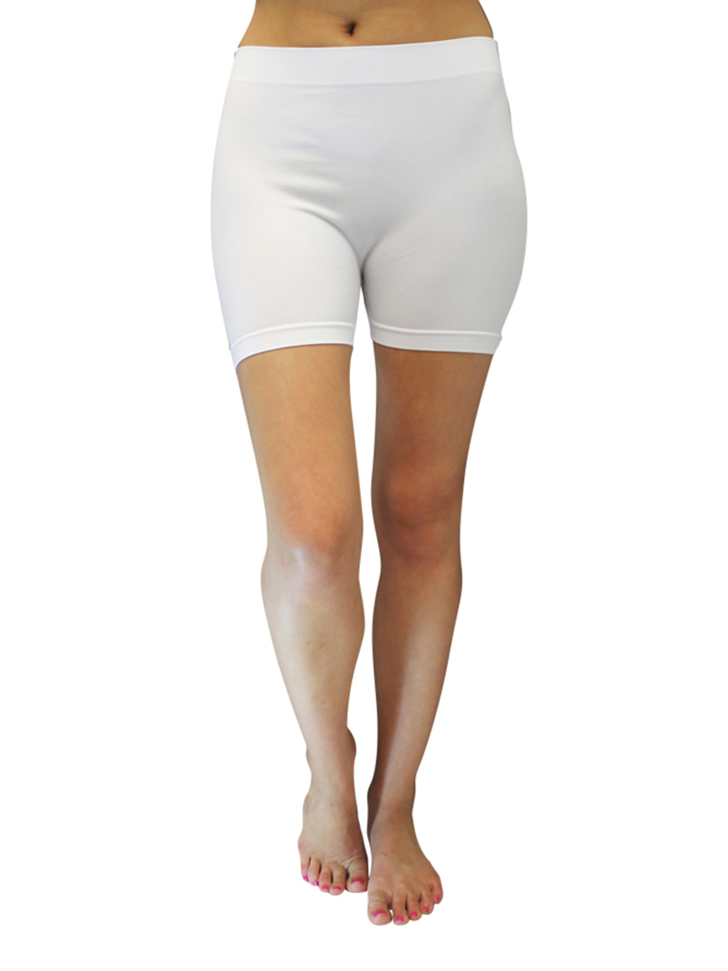 "White 12"" Long Ultra Stretchy Legging Shorts"
