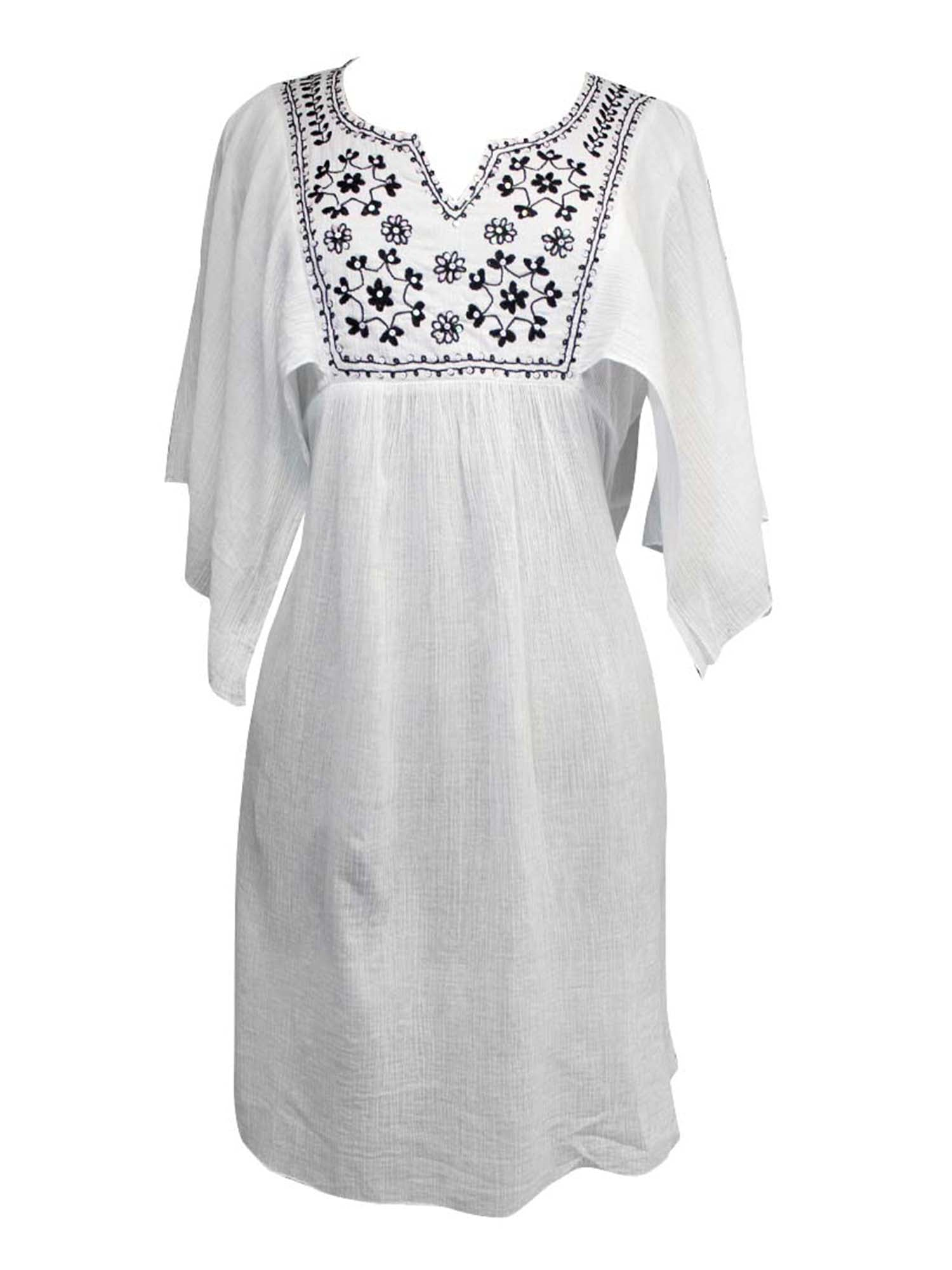 White With Embroidery Cotton Tunic Beach Cover-Up