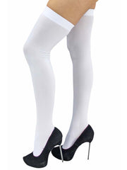 All White Opaque Thigh High Womens Stockings