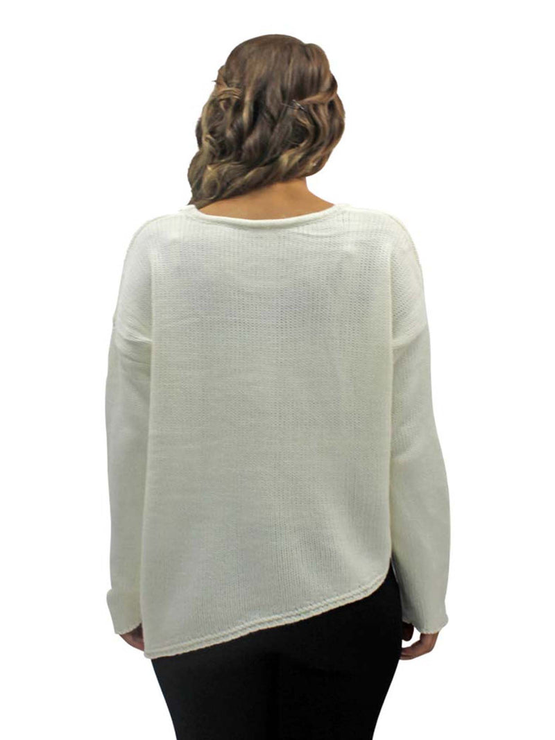 White Thin Knit Asymmetrical Oversized Sweater