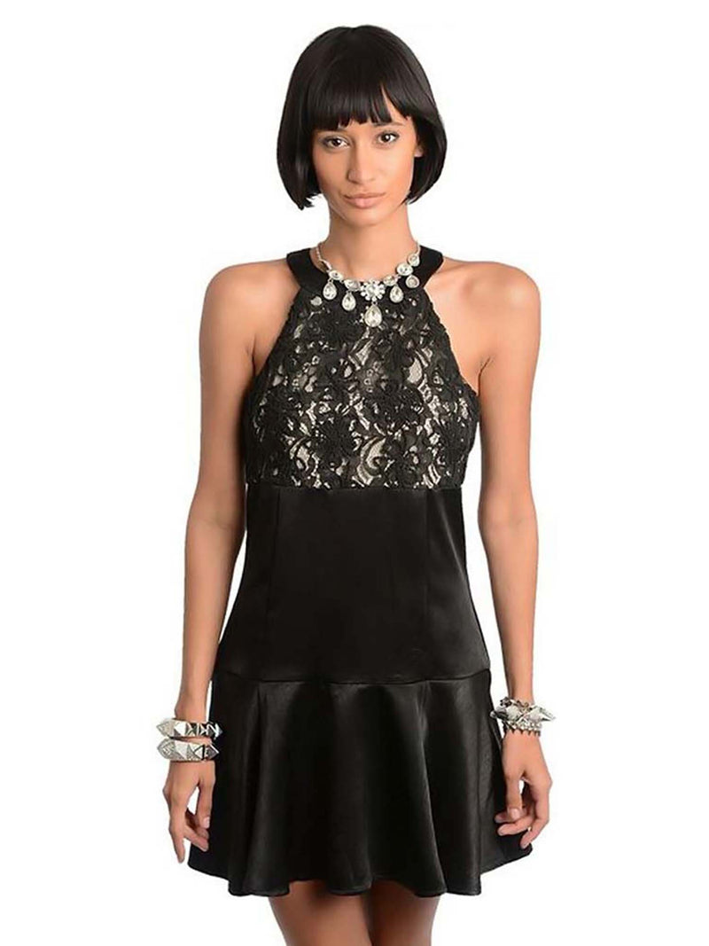 Black Satin Sleeveless Racerback Cocktail Dress Size Small