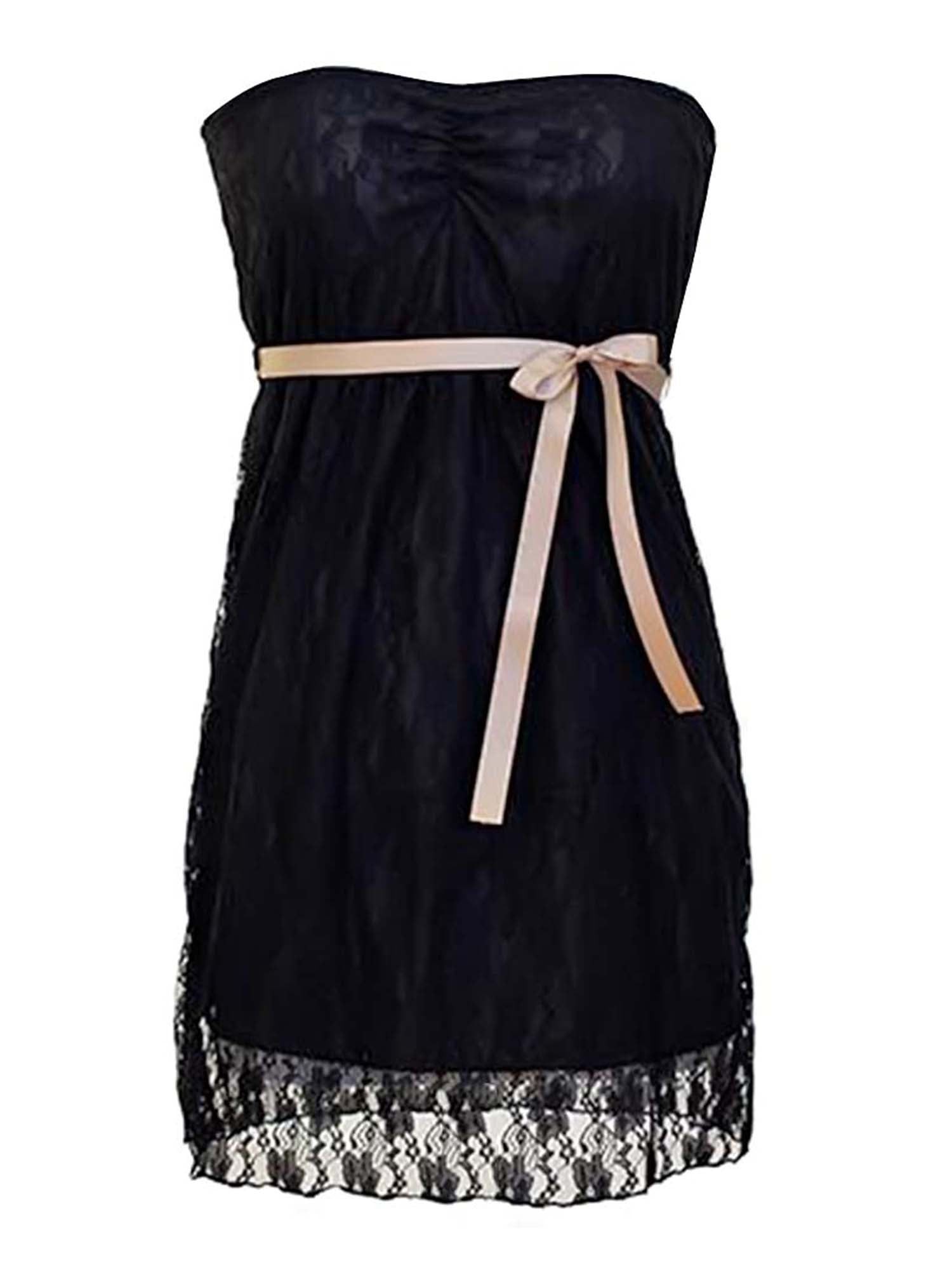 Lace Strapless Junior Size Dress With Bow