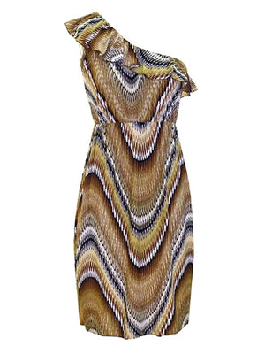 Swirled Print One Shoulder Midi Dress