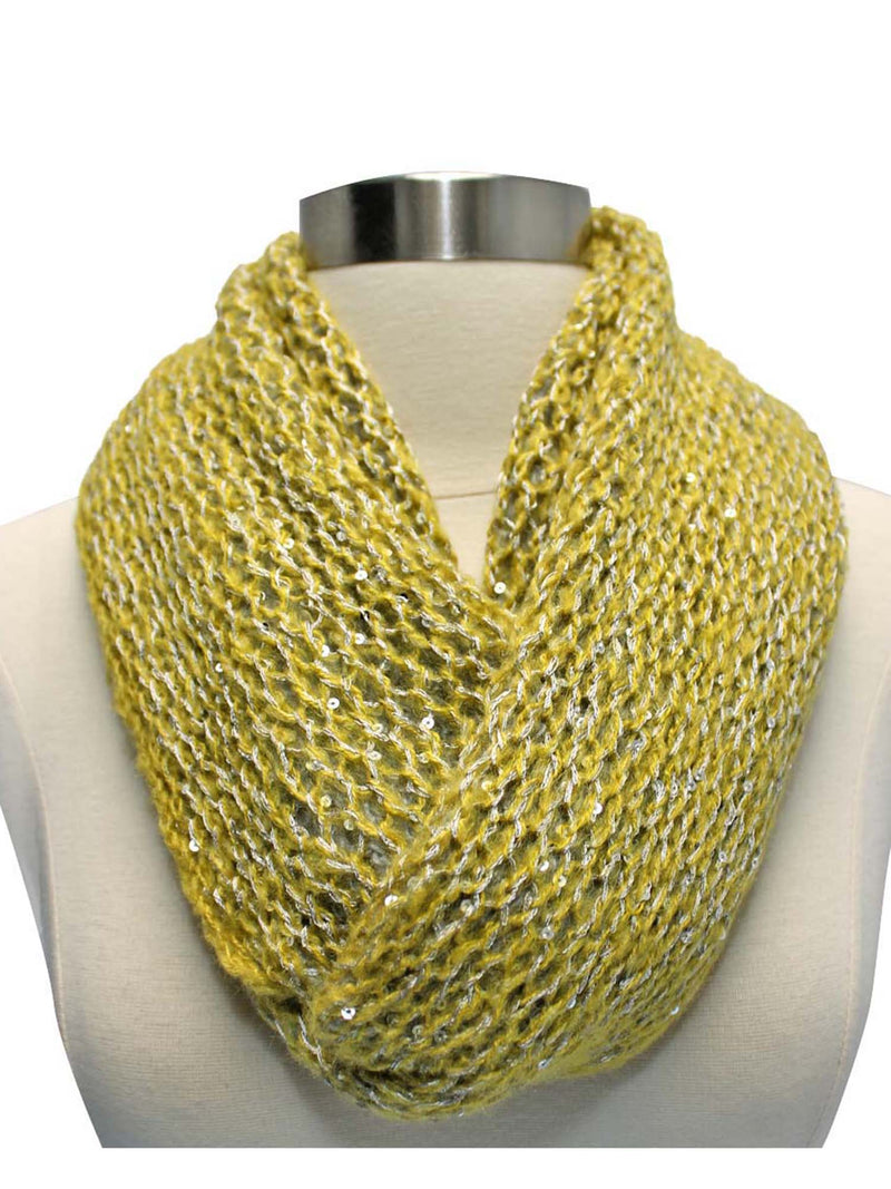 Two-Tone Double Sided Sequin Infinity Winter Scarf