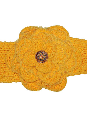 Knit Headband With Lacey Flower Detail