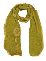 Feminine Scarf With Rosette Trim