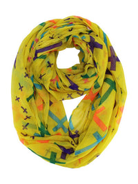 Multicolor Cross Print Infinity Scarf