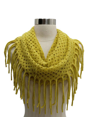 Wispy Knit Circle Infinity Scarf With Fringe