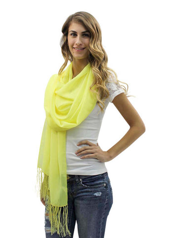 Yellow Long Shear Georgette Shawl With Fringe