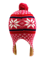 Snowflake Knit Winter Hat With Tassels