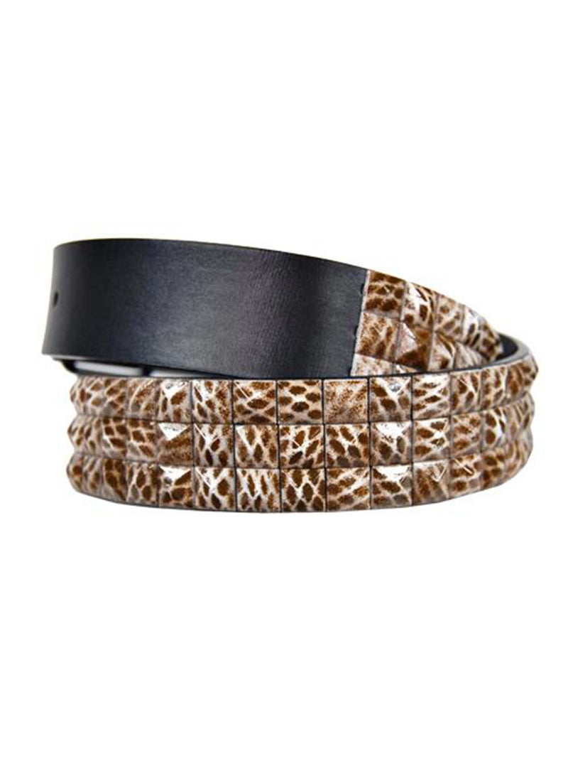 Animal Print Enamel 3 Row Pyramid Spiked Belt