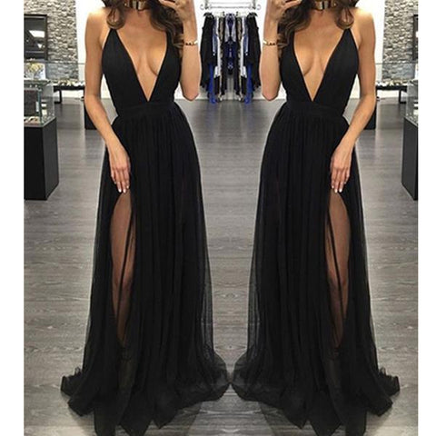 Black Deep V-Neck Sexy Hot Sale Backless Simple Prom Party Dresses