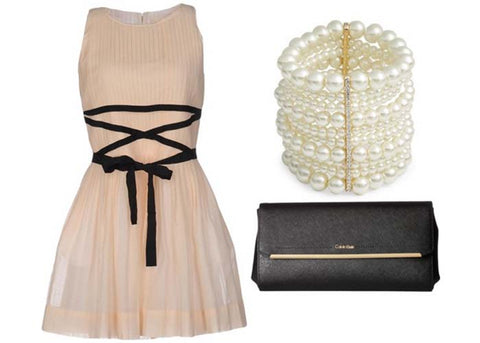 beige dress, faux pearl bracelet, black clutch