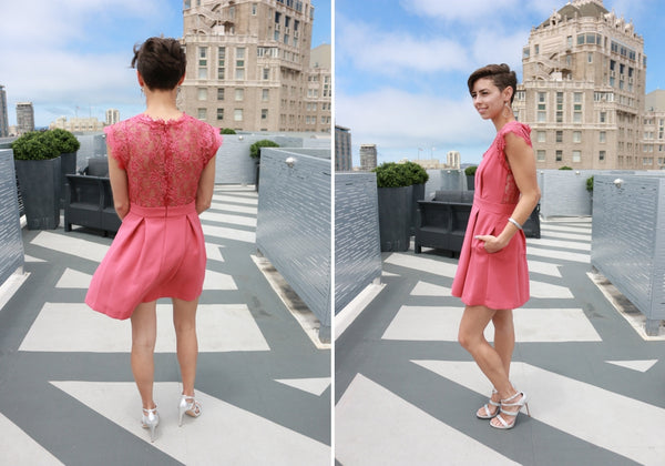 What to wear to a wedding pink lace dress