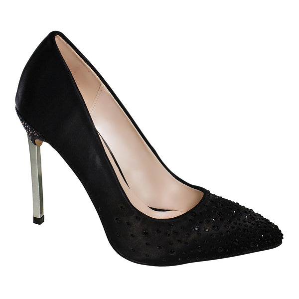 Janice-11 Satin and Rhinestone Pump- Black