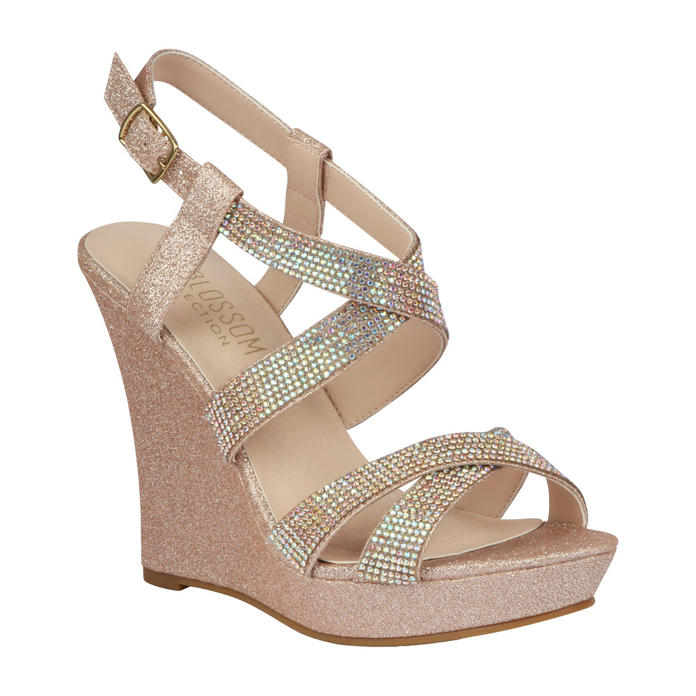 ALLE-12 Women's Rhinestone Wedge- Blush