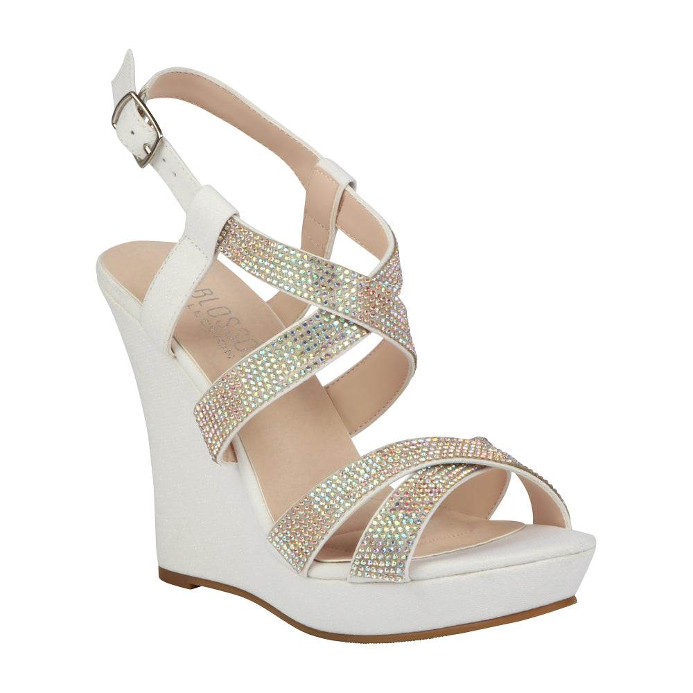 ALLE-12 Women's Rhinestone Wedge- White