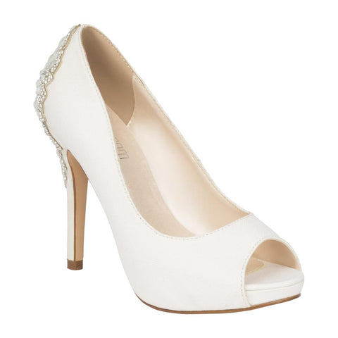 De Blossom Bridal Women's White Shimmer Peep Toe Pump with Rhinestone Embellished Back Detail- White