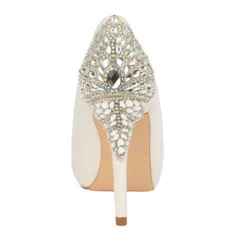 De Blossom Bridal Women's White Shimmer Peep Toe Pump with Rhinestone Embellished Back Detail-BARBARA-66B White