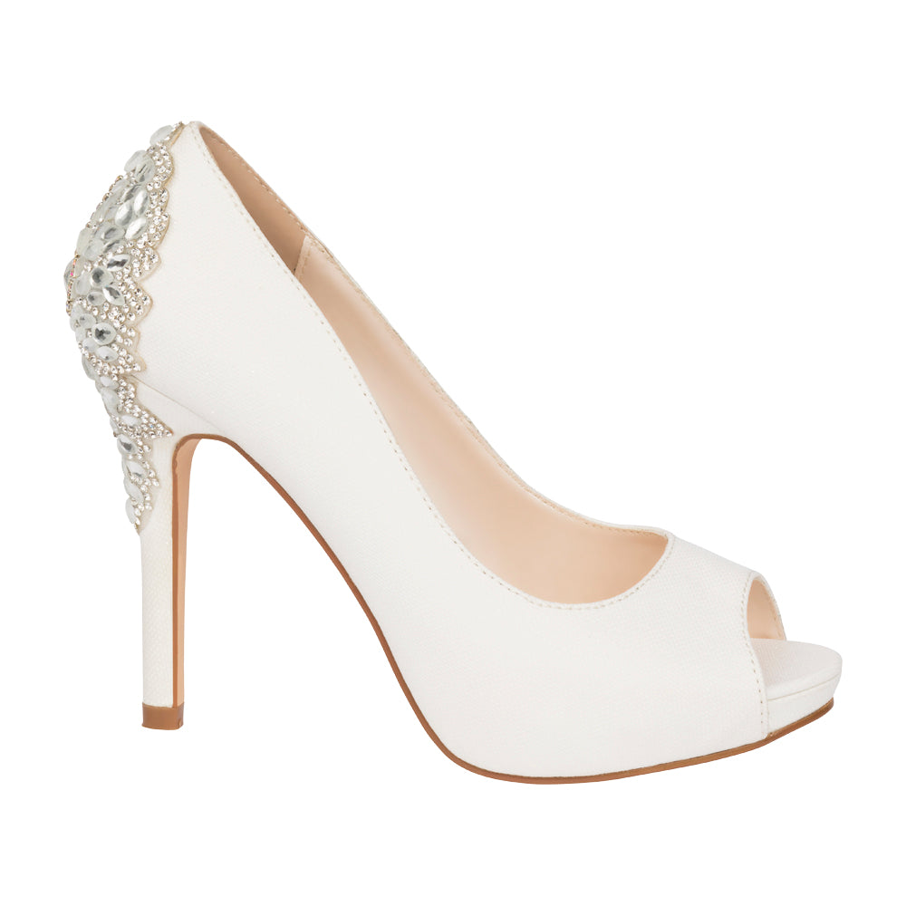 De Blossom Bridal Women's White Shimmer Peep Toe Pump with Rhinestone Embellished Back Detail- White, High Heels- De Blossom Collection