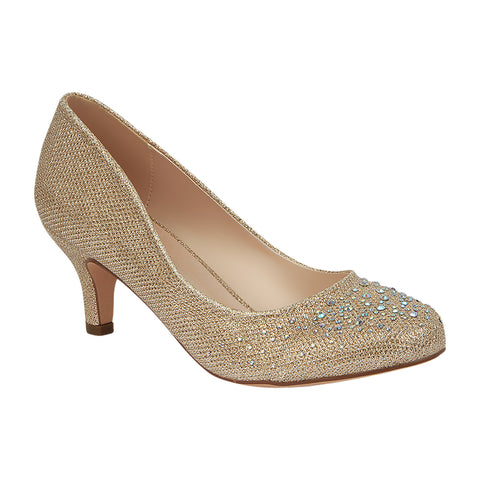 Bertha-3 Women's Shimmer Dressy Low Heel Pump- Nude