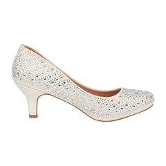 Bertha-9B Low Bridal Rhinestone Heel- White, Low Heels- De Blossom Collection