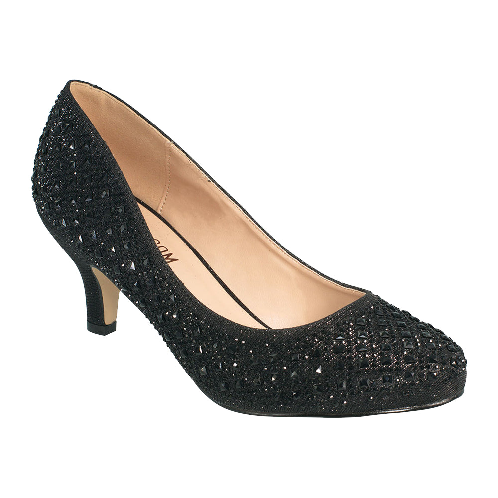 Bertha-9 Round Toe Rhinestone Kitten Heel- Black, Heels- De Blossom Collection