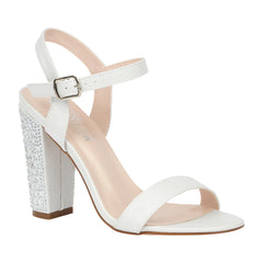 Celina-15B Rhinestone Block High Heeled Sandal- Off White