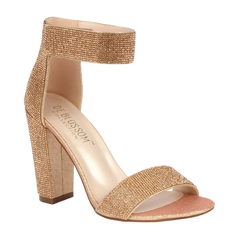 CELINA-16 Women's All Rhinestone Block Heel