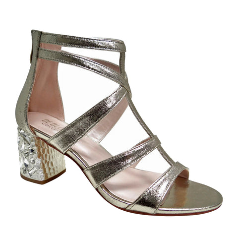 Celina-2 Rhinestone Block Heel Cage Sandal with Suede- Gold