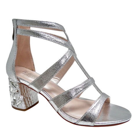 Celina-2 Rhinestone Block Heel Cage Sandal with Suede- Silver