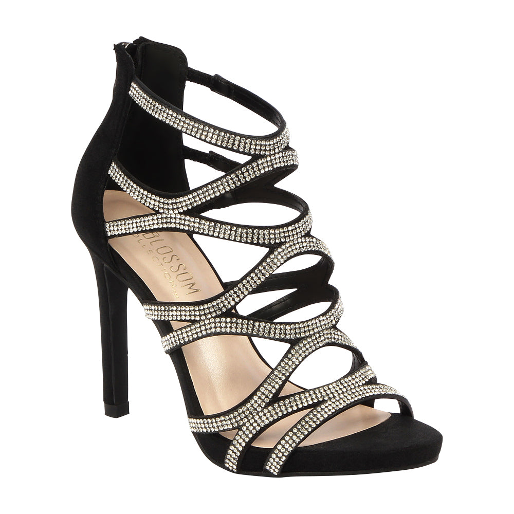 Charlotte-11 Rhinestone Cage High Heeled Dress Sandal- Black – De Blossom  Collection