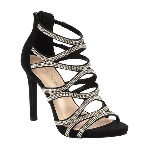 Charlotte-11 Rhinestone Cage High Heeled Dress Sandal- Black