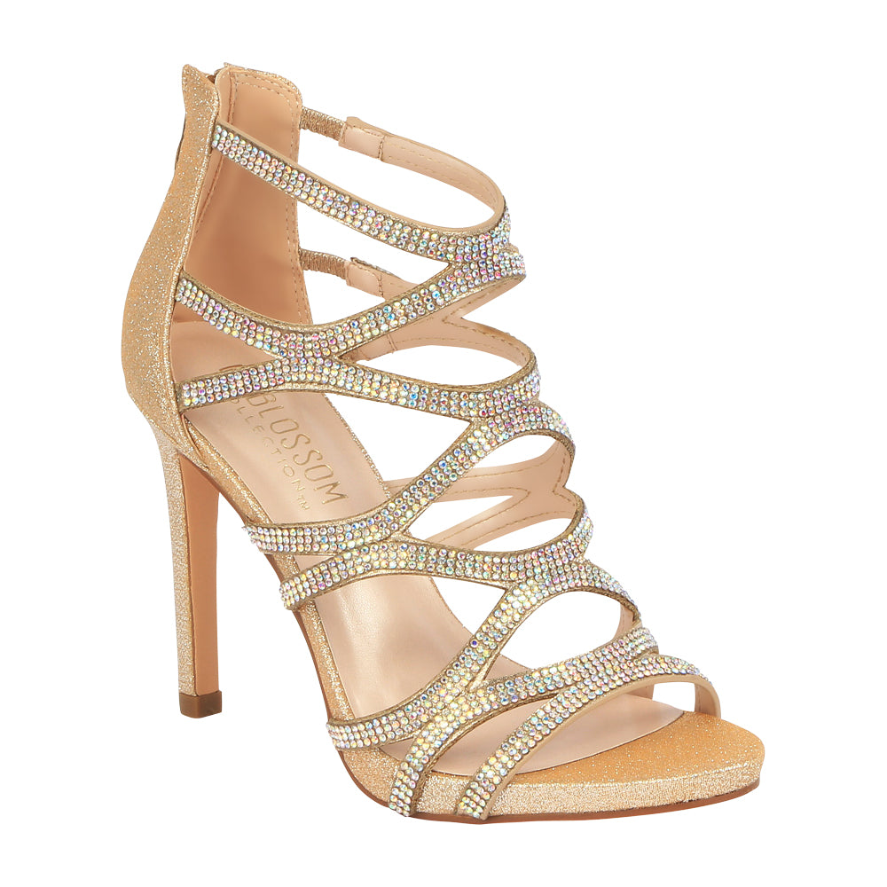 Charlotte-11 Rhinestone Cage High Heeled Dress Sandal- Champagne